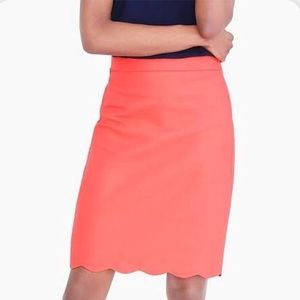 J Crew Coral Scalloped Pencil Skirt.